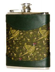 Bisley 6oz Green Pheasant Fabric & Leather Flask