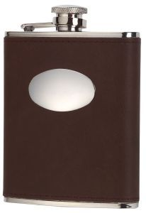 David Nickerson Brown Leather 6oz Hip Flask